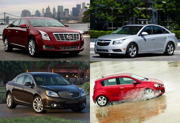 GM announced that it is recalling four vehicles, clockwise from top left, the Cadillac XTS, Chevy Cruze, Chevy Sonic and Buick Verano.