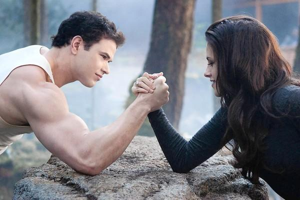 "Kellan Lutz and Kristen Stewart star in ""The Twilight Saga;"" Breaking Dawn-Part 2."""