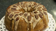 Bonnie Hoffman's cranberry apple pumpkin bundt cake with maple glaze and sugared pecans