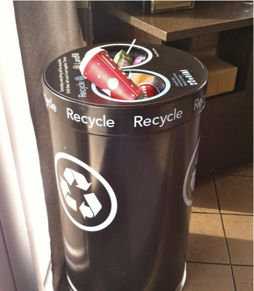 Recycling jolt: New collection bins at the Quarry Lake Starbuck's. Bring your own tumbler and save 10 per cup.