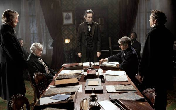 "Daniel Day-Lewis, center rear, stars in ""Lincoln."""