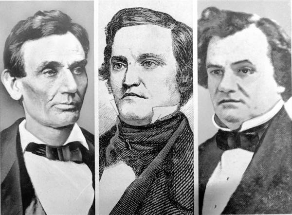 Presidential candidates in 1860, the last election year before the Civil War, were, from left: Abraham Lincoln, Republican party; John C. Breckinridge, of Kentucky, the southern half of the Democratic party; and Sen. Stephen A. Douglas, the northern half of the Democratic party. A fourth candidate, Tennessean John Bell (not pictured), of the Constitutional Union Party, was also a nominee.