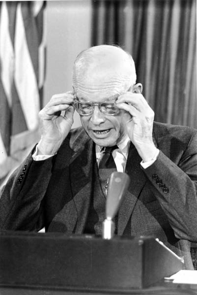 President Eisenhower reads his farewell address in 1961, when he warned of the military-industrial complex.