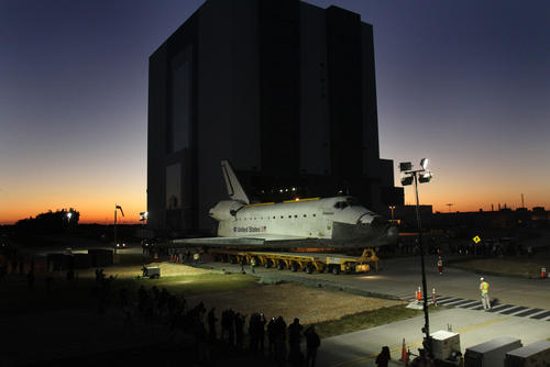 Space Shuttle Atlantis leaves at dawn Friday, November 2, 2012 on a slow trek to it's new home at Kennedy Space Center Visitors Complex.