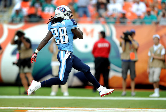 Titans running back Chris Johnson hi-steps into the endzone in the first quarter.