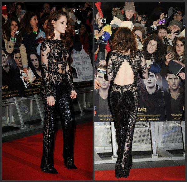 "Kristen Stewart wears a peek-a-boo jumpsuit by Zuhair Murad to the London premiere of ""The Twilight Saga: Breaking Dawn -- Part 2."""