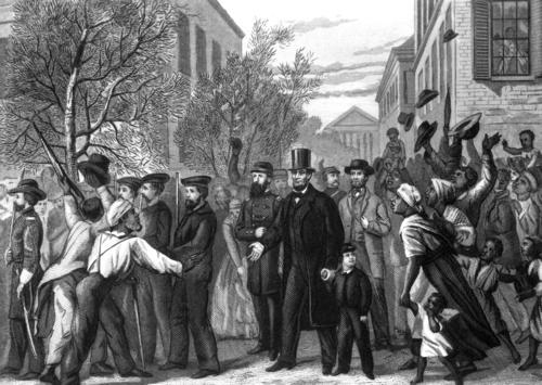An engraving by J.C. Butt depicts Richmond, Va., shortly after it was captured by Union troops.