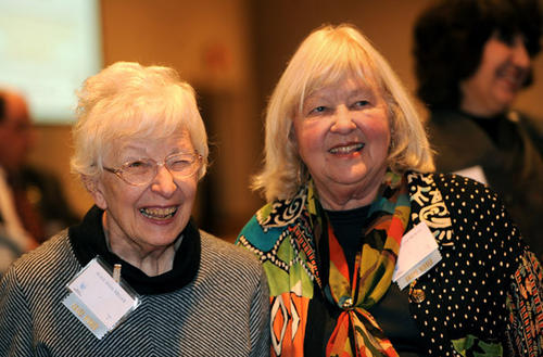 Alice Anne Miller, left, and Joan Miller Moran are Lifetime Achievement Award winners at the Association of Fundraising Professionals National Philanthropy Day breakfast held at DeSales University Wednesday.