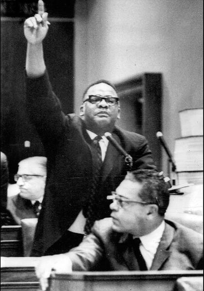 State Rep. Harold Washington makes a point during a session in Springfield. Washington earned a reputation as a gadfly among organization Democrats.