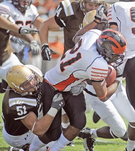 Lehigh #51, Billy Boyko, tackles Princeton #21, Jordan Culbreath, in their football game held at Lehigh University's Goodman Stadium on Saturday September 18, 2010.
