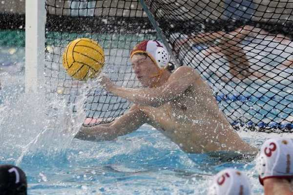 La Canada's goalie Jeff Lee makes a big stop in second half of the CIF DIII semi-final match against Palos Verdes.