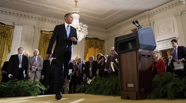 President Obama arrives for a news conference Wednesday at the White House.