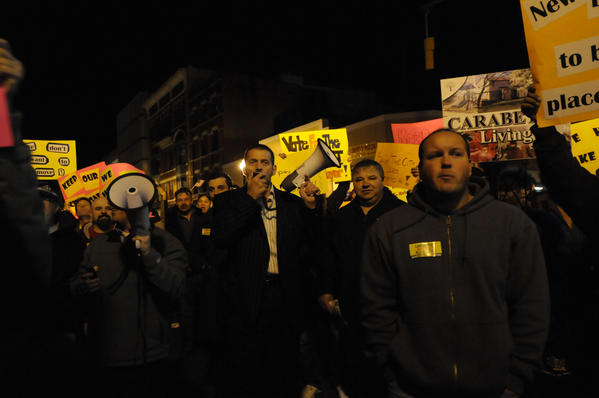 """Property owner Sam Zherka of New Britain led the protest calling for citizens to vote the New Britain council out of office if they do not back down on a levy on landlords Wednesday night. """"It's not right. It's not fair. It's unconstitutional,"""" he said. Owners of rental properties and tenants protested against a proposed $150 per apartment fee on landlords in New Britain Wednesday night."""