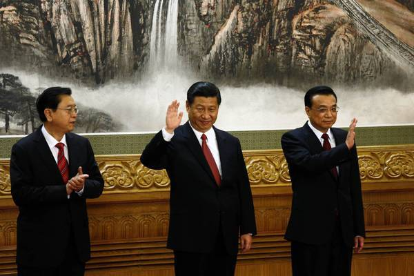 From left, three of the seven members of China's new Politburo Standing Committee: Zhang Dejiang, Xi Jinping and Li Keqiang. Xi was named party general secretary, meaning he will become China's president early next year.