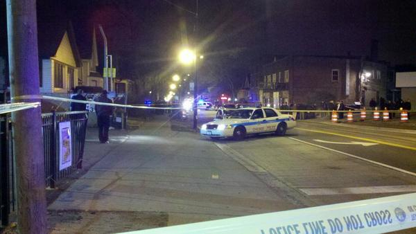 Police on the scene of a shooting tonight in the South Chicago neighborhood.