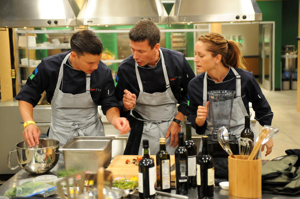 Contestants Jeffrey, Bart and Brooke collaborate to create a winning dish.