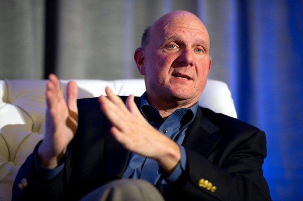 Microsoft CEO Steve Ballmer speaking at an event at the Churchill Club in Santa Clara, Calif. on Wednesday.