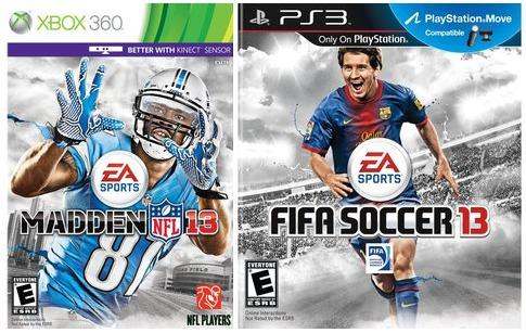 """FIFA 13""/""Madden 13"" for Xbox, PS3 - $35"