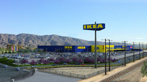 A rendering of new IKEA in Burbank that will be nearly twice the size of the current location.