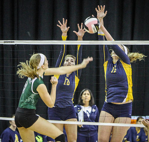 St. Thomas Aquinas' Brooke Lyons (16) blocks a shot during first set action of their match against Venice in a Class 7A FHSAA Girls High School Volleyball State final game at the Silver Spurs Arena in Kissimmee, Fla. on Wednesday, November 14, 2012.