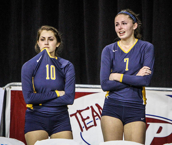 St. Thomas Aquinas players Mackenzie Zielinski (10), and Nikki Lyons (7) react after they are shut out by Venice during the third set of their match in a Class 7A FHSAA Girls High School Volleyball State final game at the Silver Spurs Arena in Kissimmee, Fla. on Wednesday, November 14, 2012.