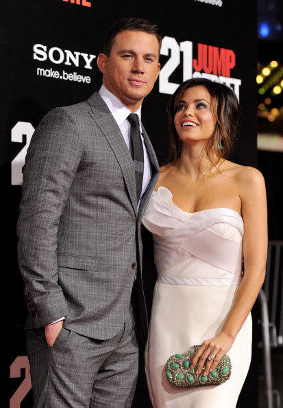 Actors Channing Tatum (L) and his wife Jenna Dewan arrive at the premiere of Columbia Pictures' '21 Jump Street' at the Grauman's Chinese Theater on March 13. 2012 in Los Angeles, California.
