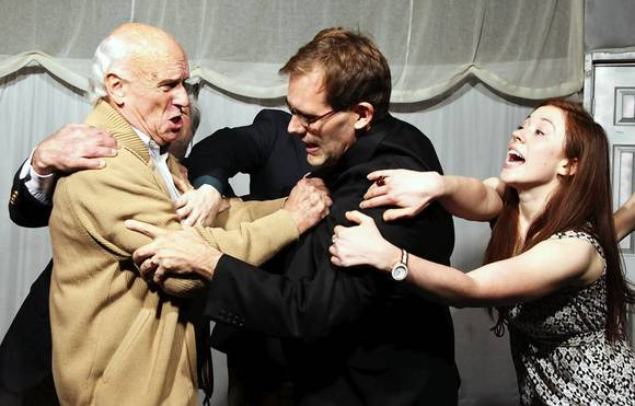"John Ruhaak, from left, Ed Dzialo and Gillian Hemme star in ""The Feast"" at Prop Thtr."