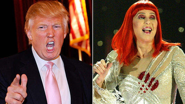 Donald Trump's famous feuds: In the Donalds defense, Cher fired first. The openly Democratic Turn Back Time singer took to Twitter in November 2012 (on the heels of Trump hounding President Obama during his 2012 campaign) to bash clothing retailer Macys for carrying Trumps line in its stores and take jabs at his famous do.  Ill NEVER GO TO MACYS AGAIN! Cher tweeted. I didnt know they sold Donald Trumps Line! If they dont care that they sell products from a LOUDMOUTH.  But Trump didnt take the tirade sitting down, firing back about the singers surgical procedures.  Cher-- I dont wear a rug--its mine. And I promise not to talk about your massive plastic surgeries that didnt work.