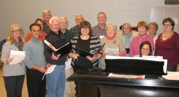 Members of the Little Traverse Choral Society are (front row, from left) Anne Heier, David Sawtelle, Vince Chew, Alice Pletz-Miller, Millie Janka, Rita McIntyre, accompanist Judi Billings, Judy Bonter; (middle row) Helene Kleymeer, John Lignell, Jane Sawtelle, Phyllis Marshall; (third row) David Gladstone, Roger Postmus, Bob Utter, and not pictured, Jean Fought.
