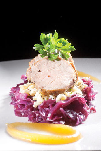 Roasted pork tenderloin with braised red cabbage