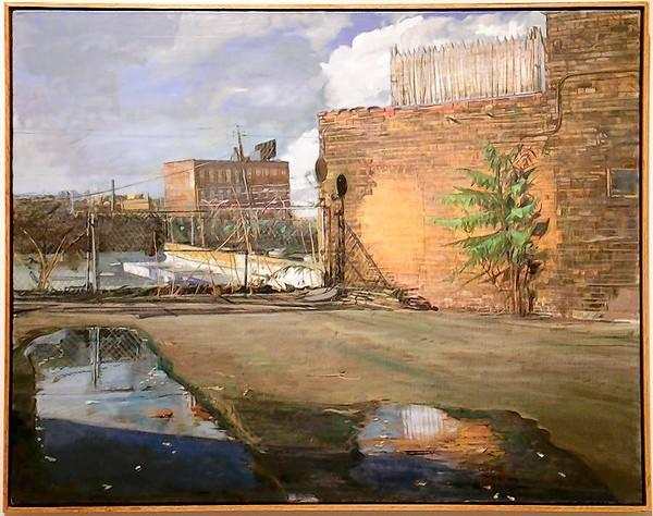 """Jerome Witkin: Drawings,"" an exhibit that shows Witkin's drawings of intimate figure studies and portraits, is on display through Dec. 13 at Laguna College of Art & Design. Pictured is ""Parking Lot off South State Street,"" an oil painting on canvas."