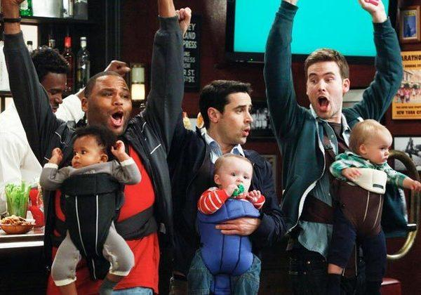 "Anthony Anderson, left, Jesse Bradford, center, and Zach Cregge in ""Guys With Kids."""