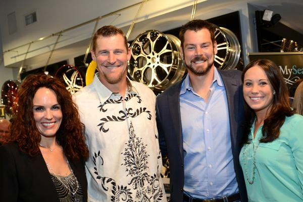 Holly and Dan Campbell, Tight Ends Coach with the Miami Dolphins with Brandon Fields, punter for the Miami Dolphins, and his wife Katie