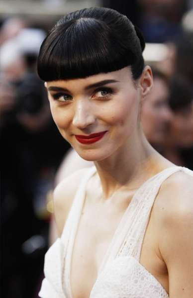 "Rooney Mara's fierce bangs echoed her character in ""The Girl With the Dragon Tattoo."""