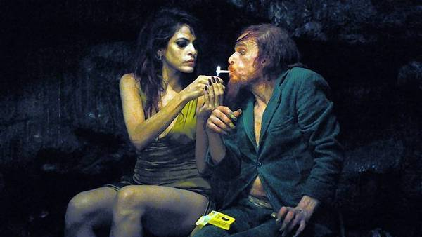 "Eva Mendes and Denis Lavant in ""Holy Motors."""