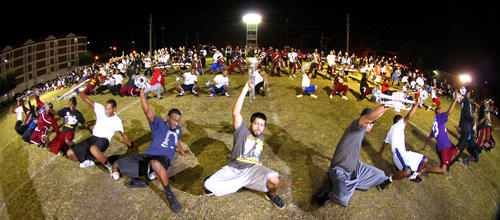 The Bethune-Cookman University Marching Wildcats perform in a nighttime rehearsal, on the practice field on campus in Daytona Beach, Tuesday, November 13, 2012.