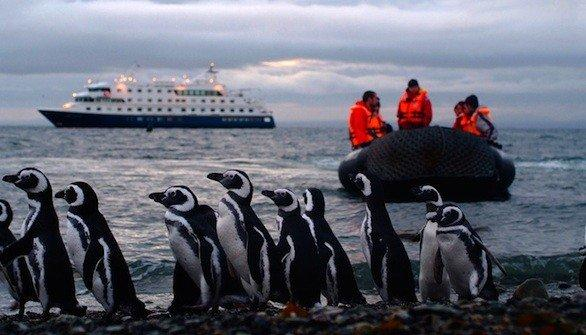 Passengers take a Zodiac craft during a Cruceros Australis cruise of southern Patagonia.