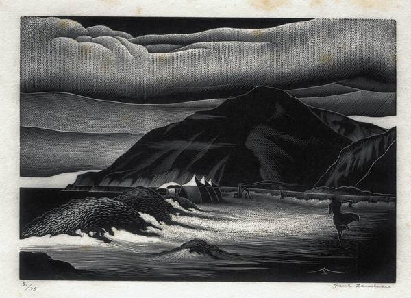 Paul Landacre, Beach Campers, wood engraving.
