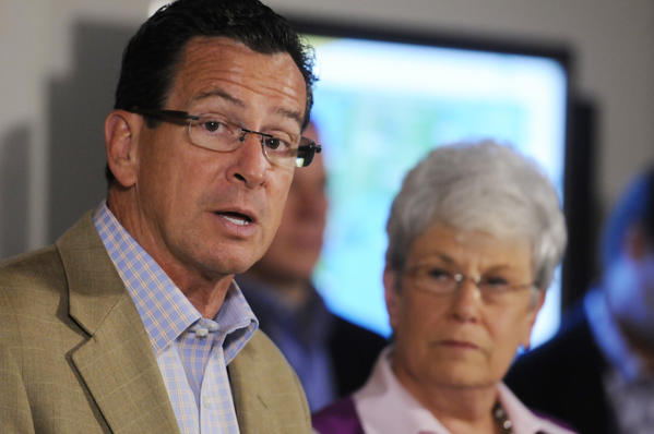 Gov. Dannel P. Malloy, seen with Lt. Gov. Nancy Wyman during storm preparations in late October, has said he intends no tax increases to make up the state's budget shortfall.