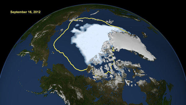The rapid melting of the Arctic sea ice is opening up previously unnavigable areas to shipping and drilling. Above: This image made available by NASA shows the amount of summer sea ice in the Arctic on Sept. 16, at center in white, and the 1979 to 2000 average illustrated by the yellow line.