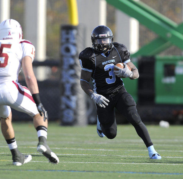 Jonathan Rigaud has rushed for 1,262 yards this season, third-most in one year ever at Hopkins, and 20 touchdowns, second-most in Blue Jays history. He was chosen as the Centennial Conference Offensive Player of the Year.