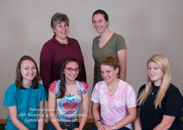 Pennsylvania state delegates attend the 58th annual National 4-H Dairy Conference. From left, front row: Amber Gabel, Mary Dice, Katie Osbourne, Elizabeth Acel. Back row: Irene Osbourne and Mary Morrow.