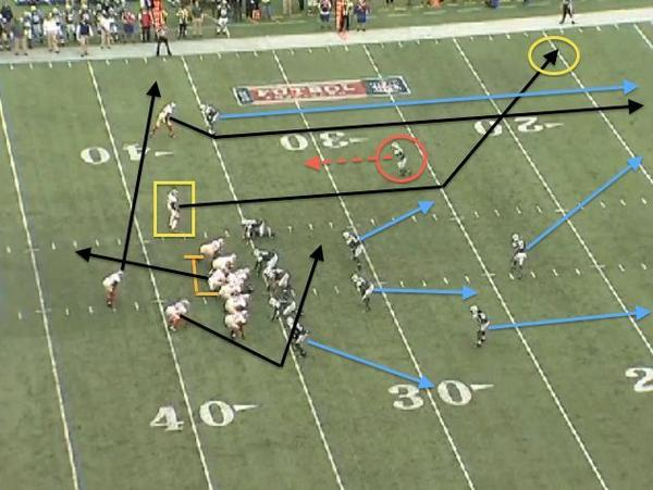 An example of how 49ers quarterback Alex Smith picked up an explosive gain against the Jets' Cover-3 defense.
