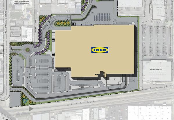 The site plan for the proposed new location for Ikea Burbank.
