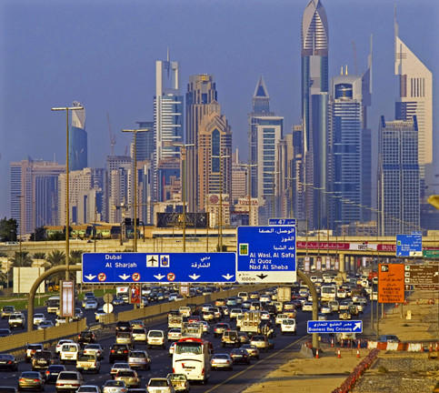 Commuters travel on Sheikh Zayed Road into Dubai.