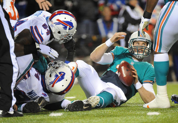 Ryan Tannehill looks up after getting sacked in the second quarter.