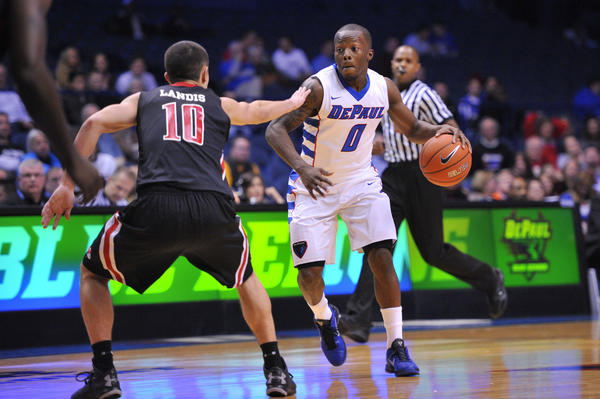 DePaul guard Worrel Clahar is guarded by Gardner-Webb's Max Landis.