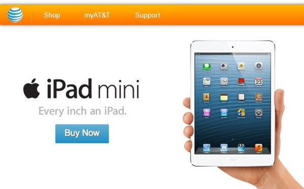 AT&T is now promoting the iPad mini on its website.