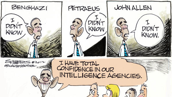 Dana Summers Cartoon: Barack Obama: Benghazi, Petraeus, John Allen, CIA