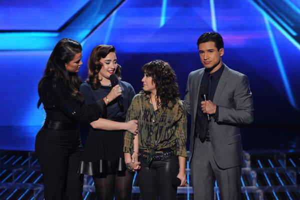 "Khloe Kardashian Odom, Demi Lovato, eliminated contestant Jennel Garcia and Mario Lopez on ""The X Factor."""